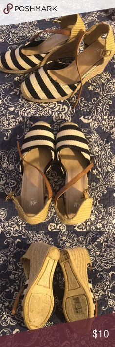 Blue & white striped espadrilles size 38 Perfect Summer wedge H&M Shoes Espadrilles