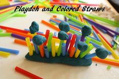 playdoh and colored straws