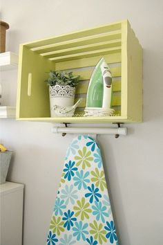 Tutorial: Wood crate ironing station I may not ever use my iron in my laundry room, but I'm always using it in my sewing room. Here's a smart idea from Craftaholics Anonymous for storing your iron
