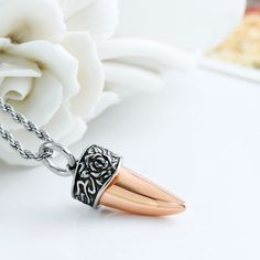 Wish - Rose gold color Wolf tooth Pendant Necklaces, tribal stainless steel pendant ,Gift for her
