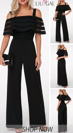 Strappy Cold Shoulder Overlay Embellished Black Jumpsuit On Sale At Modlily., Strappy Cold Shoulder Overlay Embellished Black Jumpsuit On Sale At Modlily. Fashion outfit, simple and special, popular and hot sale. It is time to e. Outfit Chic, Jumpsuit Outfit, Black Jumpsuit, Embellished Jumpsuit, Mode Hijab, Mode Outfits, Mode Style, Dress Patterns, Sewing Patterns