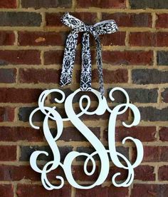 Front door initial decor letter monogram decoration ideas decorating styles that are out best delightful amazing Monogram Door Decor, Initial Decor, Wooden Monogram, Wooden Letters, Monogram Initials, Monogram Letters, Monogram Bags, Vine Monogram, Front Door Initial