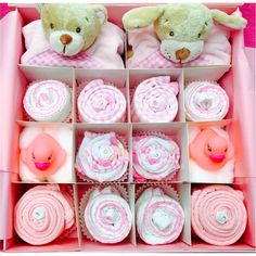 Our unique cupcake gift sets are so cute and this one makes a gorgeous gift fo baby girl twins! We can also create this set in Blue/pink, All blue or Neutral. These cupcakes are also a wonderful centrepiece at a baby shower. All cupcake gift sets are presented in our gorgeous keepsake gift box making them totally unique. Then gift wrapped in colour coordinated cellophane with a hand made gift card.