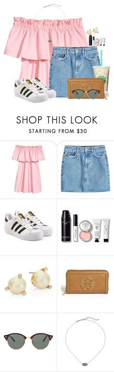 """Off the shoulder shirts are SO cute!"" by annaewakefield ❤ liked on Polyvore featuring Anine Bing, adidas Originals, Bobbi Brown Cosmetics, Kate Spade, Tory Burch, Ray-Ban and Kendra Scott"