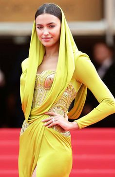 Irina Shayk Best Dressed in Atelier Versace hooded embellished corset draped details lime yellow gown #Cannes2014