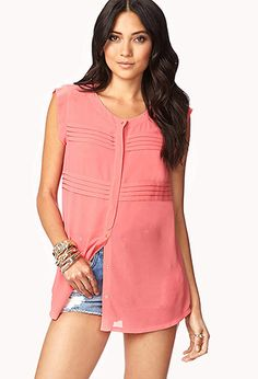 Favorite Pleated Georgette Tunic  $22.80