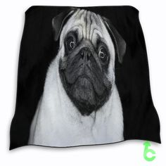 New Dog pug in black and white Blanket