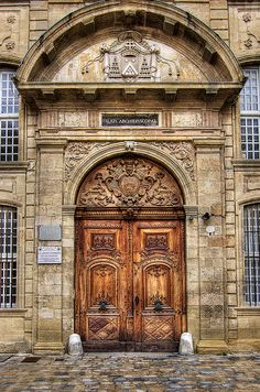 """Aix en Provence - Main entrance door to the Archbishop's Palace, nowadays also hosting the """"Musee des Tapisseries"""""""