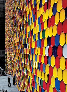 Christo and Jeanne-Claude The Wall - 13,000 Oil Barrels, Gasometer Oberhausen, Germany, 1998-99 Photo: Wolfgang Volz © 1999 Christo
