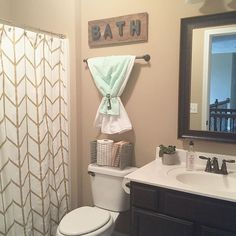 Guest bathroom herringbone shower curtain from and the bath letters from that I attached to a piece of reclaimed wood. Guest Bathrooms, Upstairs Bathrooms, Bathroom Kids, Girl Bathroom Ideas, Bathroom Toilet Decor, Neutral Bathroom Colors, Gender Neutral Bathrooms, Mint Bathroom, Target Bathroom