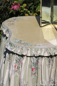 Painted floral top and skirt/curtains of vintage 1930's dressing table