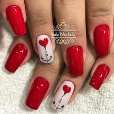 50 Cute And Lovely Heart Shape Nail Art Design For You - Page 7 of 50 - Chic Hostess Red Nail Art, Red Nails, Nail Art Coeur, Love Nails, Pretty Nails, Valentine Nail Art, Heart Nails, Rhinestone Nails, Holiday Nails