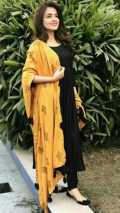 Excited to share this item from my shop: VeroniQ Trends - Black Anarkali Dress with Chanderi Silk Dupatta. Women Dresses for all occassins to buy online Salwar Designs, Kurta Designs Women, Kurti Designs Party Wear, Kurti Designs Long, Dress Designs, Designer Kurtis, Indian Designer Suits, Designer Dresses, Punjabi Suits Designer Boutique