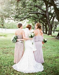 Darling Florida Wedding At A Family Farm Lush With Spanish Moss: This feminine lace sheath wedding dress is so gorgeous!