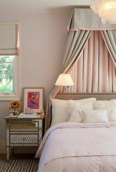 blush & greige,  soft and feminine, would  have like draperies instead of shade