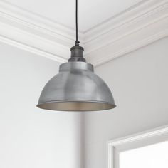 Brooklyn Vintage Metal Dome Pendant Light - Light Pewter - 13 inch just the thing for home, restaurants, hotels and cafés. Wire Pendant Light, Pendant Lighting, Ceiling Rose, Ceiling Lights, Contemporary Decor, Vintage Metal, Pewter, Bulb, Brooklyn