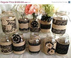 3 DAY SALE 10x rustic burlap and black lace covered mason jar vases wedding decoration, bridal shower, engagement, anniversary party decor
