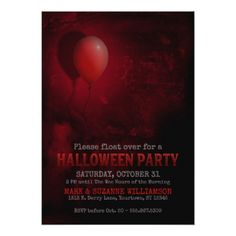 #Red Balloon Scary Halloween Party Invitation - #Halloween #happyhalloween #festival #party #holiday