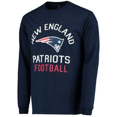 Men's New England Patriots Junk Food Navy End Zone Long Sleeve 2 Hit Front and Back T-Shirt