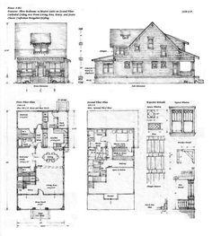 vintage Craftsman bungalow Plans   Craftsman style Bungalow    Floor plan