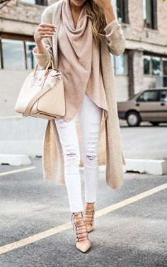 Neutrals[[MORE]] BLUSH KNIT SWEAT WHITE DISTRESSED DENIM || HEELS || BLUSH T BEIGE CARDIGAN