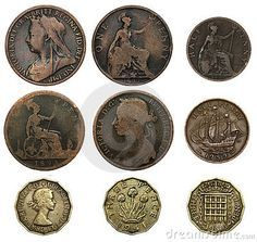 """Old UK coins - one penny, half penny (or ha' - pronounced """"hey"""" - penny) and three pence (or """"thruppenny bit"""")."""