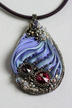 Shibori Beaded Necklace Lapis Sky O.O.A.K. by ZuziHake on Etsy