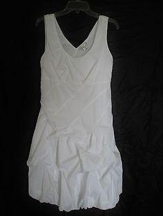 Vasner Desire White Cotton Dress L Sleeveless A-line V-neck Bubble Hem bias cut
