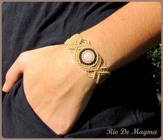 Macrame jewelry. Rose quartz bracelet. Beige or nude and dark brown hipoallergenic thread. Love stone. Pink quartz bracelet. Affection
