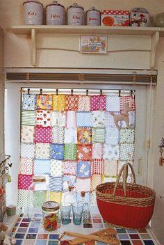 Kitchen patchwork curtain