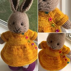 Sunshine ☀️on a cloudy day☁️.Puerperium Cardigan by Kelly Brooker modified to be a bunny dress Knitted Bunnies, Knitted Animals, Crochet Bunny, Knitted Dolls, Knit Or Crochet, Crochet Toys, Baby Knitting, Knitting Stitches, Knitting Patterns