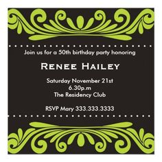 50th #Birthday #Invitation - An attractive flourishes design makes your special birthday invitation even more special.The card can be customized for other milestone parties too!