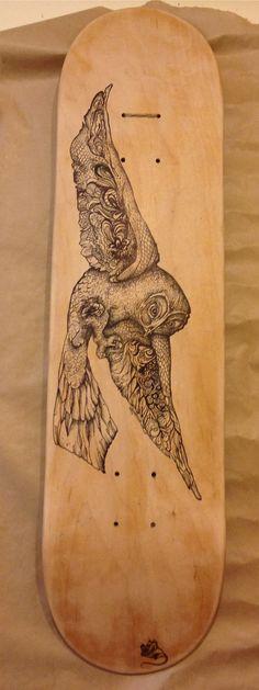 Owl Skateboard Deck by queeniemarshall on Etsy, $500.00