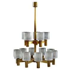 Very Grand 15-Light Brass & Crystal Hans Agne Jacobsson Chandeliers