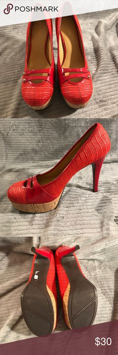 Nine West red high heel shoes 👠 Like new Nine West shoes!! Beautiful textured cock platform high heels! Accepting offers. No trades Nine West Shoes Heels