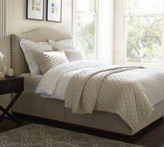 Raleigh Upholstered Camelback Headboard & Storage Platform Bed | Pottery Barn