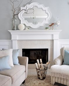 Chic living room design with gray walls paint color, Casbah mirror painted white, fireplace, tan sofa, blue pillows and wainscoting. Mirror for master fireplace? Chic Living Room, Home And Living, Living Room Decor, Dining Room, Bedroom Decor, Fireplace Mantle, Mantle Mirror, Fireplace Ideas, Bedroom Fireplace