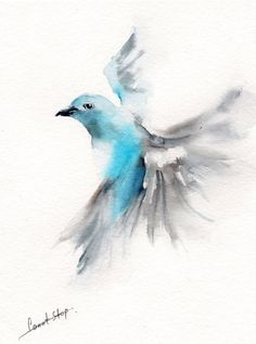 Flying Bird Original Watercolor Painting Bird by CanotStop