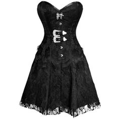 Black Lace Corset Gothic Dress (€94) ❤ liked on Polyvore featuring dresses, gothic dresses, lace overlay dress, gothic lolita dress, lace corset and lacy dress