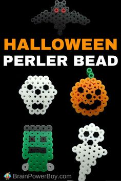 Fun & Free Halloween Perler Bead Patterns. Make a ghost, Frankenstein's monster, a pumpkin, a skull and a bat!
