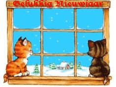 Wonderful Wishes.Happy New year !/ Cats at window watching fireworks. Happy New Year Animation, Happy New Year Gif, New Year Pictures, Network For Good, New Year Greetings, Man Humor, Christmas And New Year, I Love Cats, Animated Gif