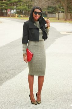 DIY herringbone pencil skirt and sweatshirt-Beaute' J'adore