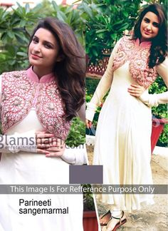 Parineeti Chopra  Cream and Pink Velvet Jacket Style Anarkali Suit