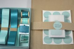 Gift wrap kit in shades of blue-green and teal #giftwrap