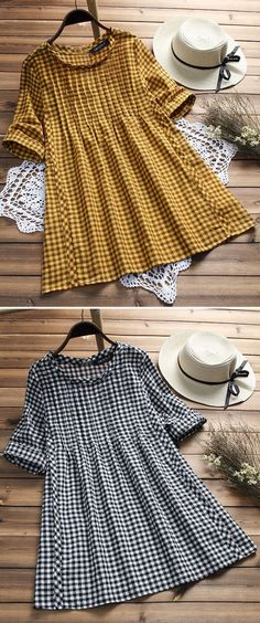 UP TO 48% OFF! Vintage Plaid Print Loose Half Sleeve O-neck Blouses For Women. SHOP NOW! - Shop at Stylizio for luxury designer handbags, leather purses and wallets. Women's and Men's watches, jewelry, sunglasses and other accessories. Fine gold and 925 sterling silver rings, necklaces, earrings. Gift ideas for women and men!