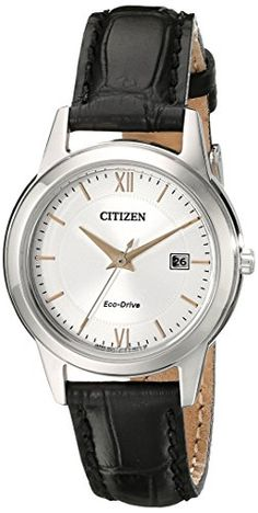 LADIES' STRAP: Keep it simple with the classic lines and rich leather strap of these ladies #CITIZEN¨ strap watches. Featured with stainless steel case, black le...