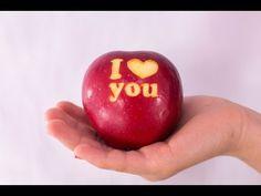 Карвинг яблока - поздравление с Днем святого Валентина - YouTube