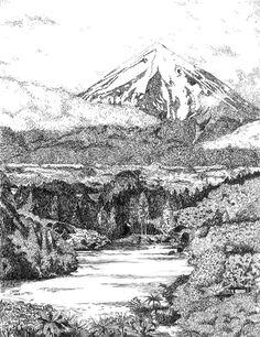 José Bakker - Taranakie Nieuw-Zeeland Pentekening met Oost-Indische inkt