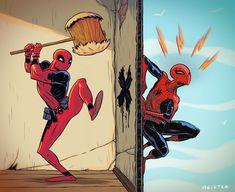 Spidey v Deadpool by MeisterMash.deviantart.com on @DeviantArt