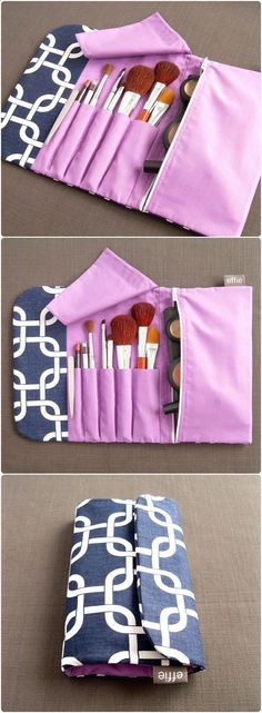 Travel Make-Up Case. All-in-One Brush Roll  Makeup Bag in Navy. Travel Gift Idea. Makeup Brush Bag. Gift for Her. Travel Accessories